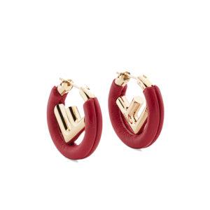 F IS FENDI Red leather earrings